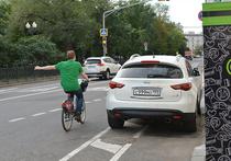 В Москве открыли первую велосипедную полосу